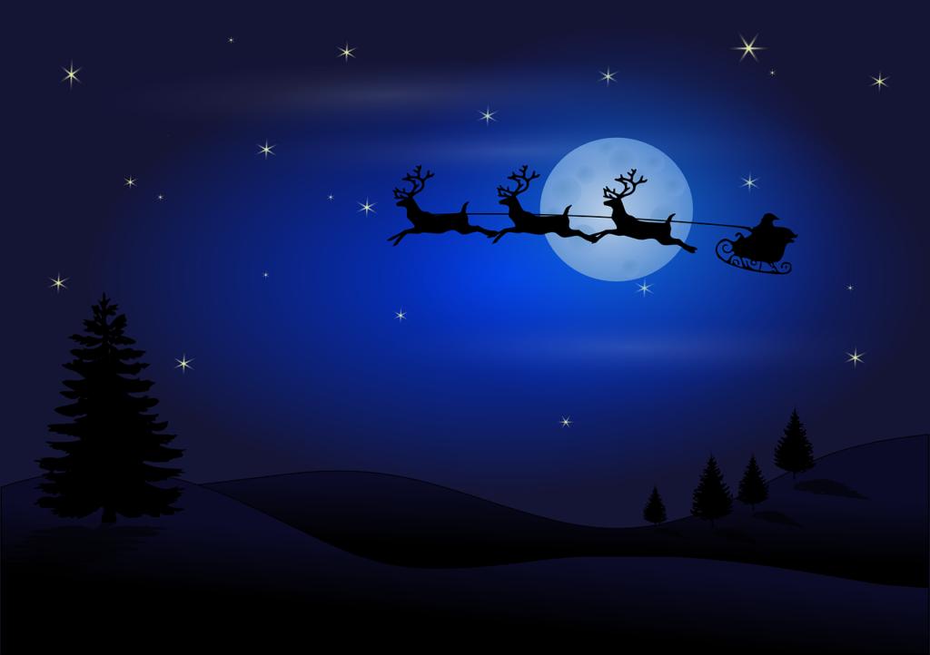 Renne e Babbo natale in volo in Racconti di Natale