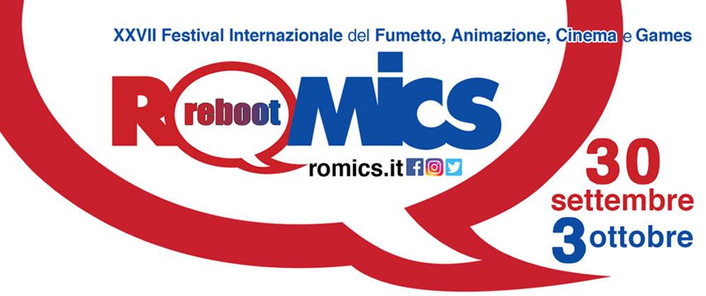 Romics 2021, il logo della manifestazione: al centro, la significativa parola Reboot
